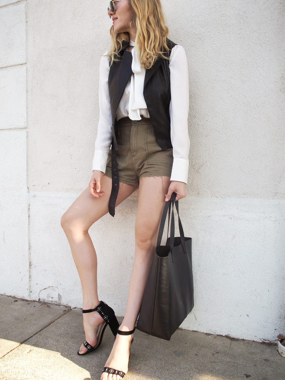 Stylestalker Hollywood Blouse Free People Gunner Shorts Liebeskind Leather Vest Raye The Label Lois Heel Madewell Transport Tote Taylr Anne Street Style www.taylranne.com