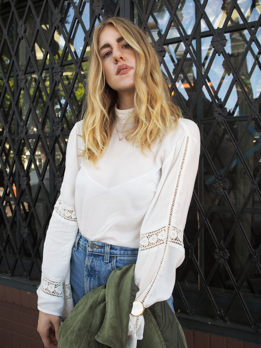 Urban Outfitters Angie Calilily Blouse Vintage Cut Off Shorts Vince Camuto Open Back Boots Everlane Modern Commuter Backpack Cluse La Boheme Watch Madewell Hat Bell Sleeve Street Style Taylr Anne www.taylranne.com