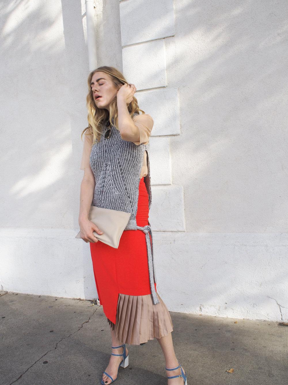 Taylr Anne OOTD Layering Jaggar Footwear Heewan Red Skirt Stylestalker Sweater Zara Sheer Shirt www.taylranne.com