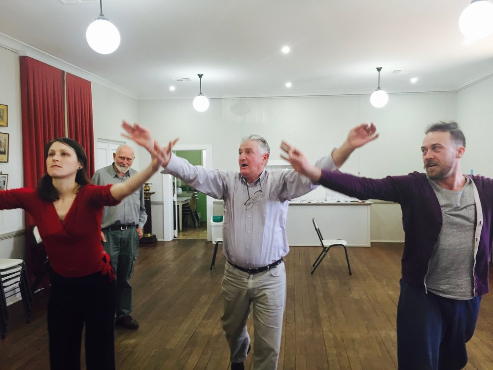 Alison Plevey - Choreographer and locals working on gestures for the Shearers Ballet