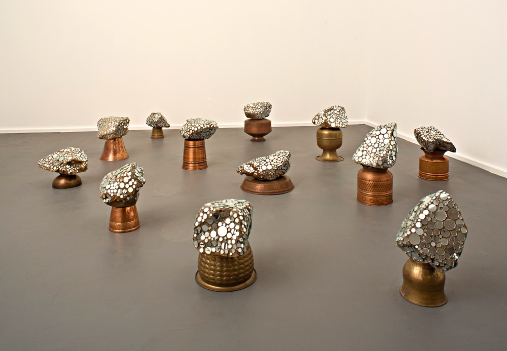 Louise Haselton, born 1960, Adelaide,  Scrutineers , 2011, copper, brass, rocks, mirrored discs, dimensions variable; South Australian Government Grant 2011, Art Gallery of South Australia, Adelaide, courtesy of the artist and GAG Projects, Adelaide