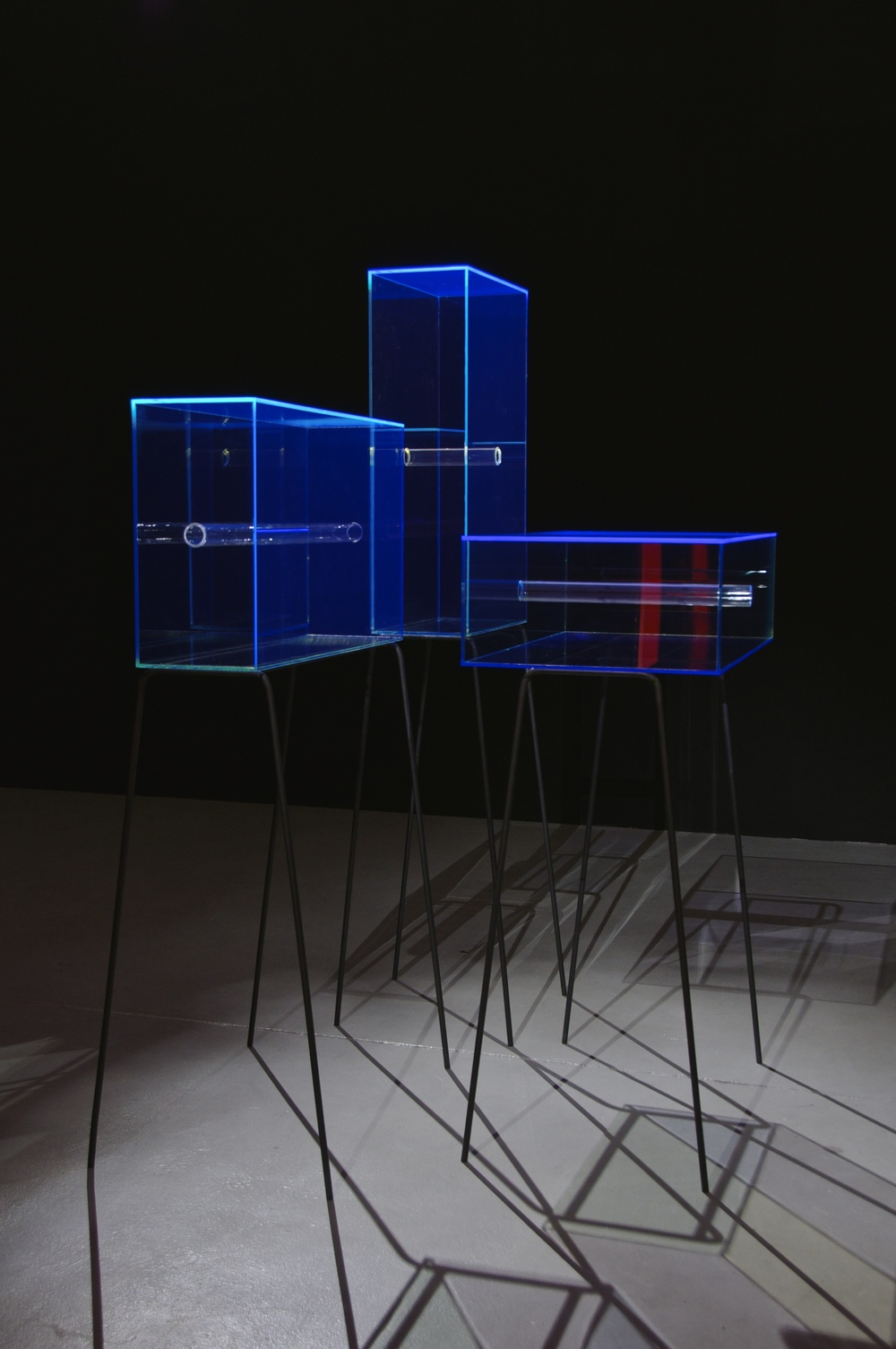 Matt Huppatz,  Glory Boxes 1-3 , 2015. Perspex, mild steel. Photo by Alex Lofting. Courtesy of the artist.