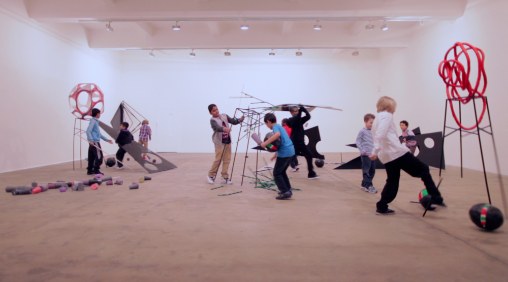 Eva Rothschild,  Boys and Sculpture , 2012, video still, courtesy the artist and Stuart Shave Modern Art, London