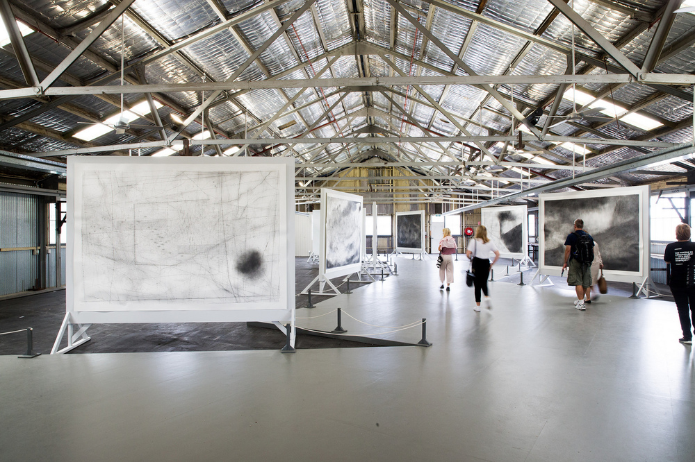 Emma McNally,  Choral Fields 1–12 , 2014–16 graphite on paper, 214 x 304 cm each. Installation view (2016) at Cockatoo Island for the 20th Biennale of Sydney. Courtesy the artist. Selected drawings created for the 20th Biennale of Sydney. This project was made possible with generous assistance from The International Production Fund with support from Outset England. Photograph: Ben Symons.