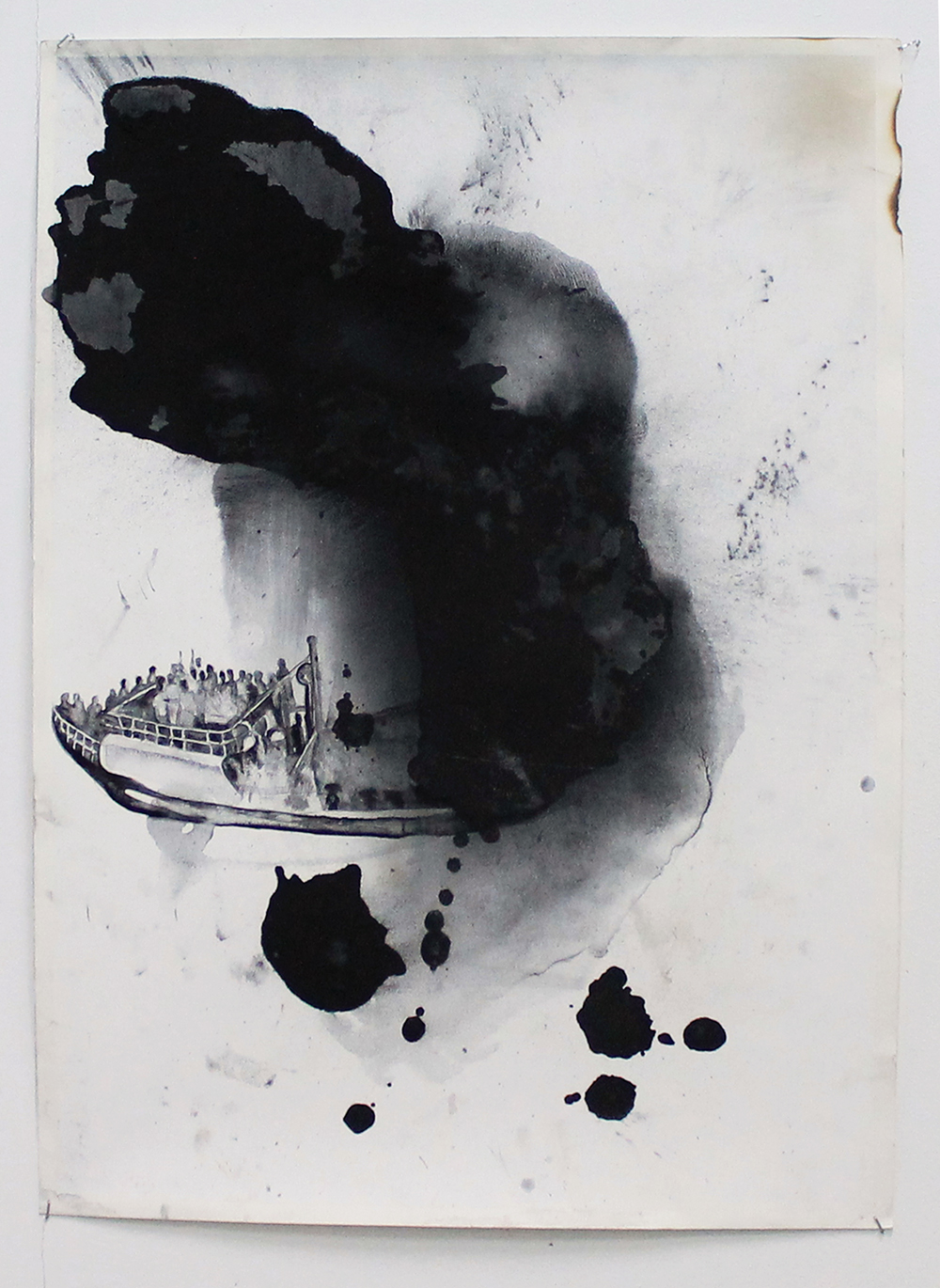 Pat Hoffie,   Smoke and Mirrors,   2012, carbon on paper, mirrors, 180 x 650 cm. Courtesy the artist