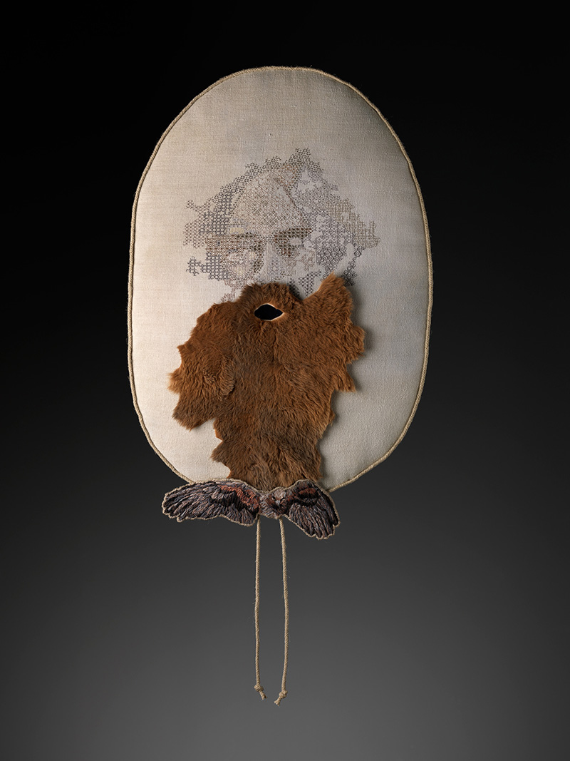 Sera Waters,  W  are and Tear, 2015,Linen, cotton, kangaroo pelt, crewel, rope, velvet, leather,58 x 38 cm. Courtesy of the artist and Hugo Michell Gallery.Photograph Grant Hancock.
