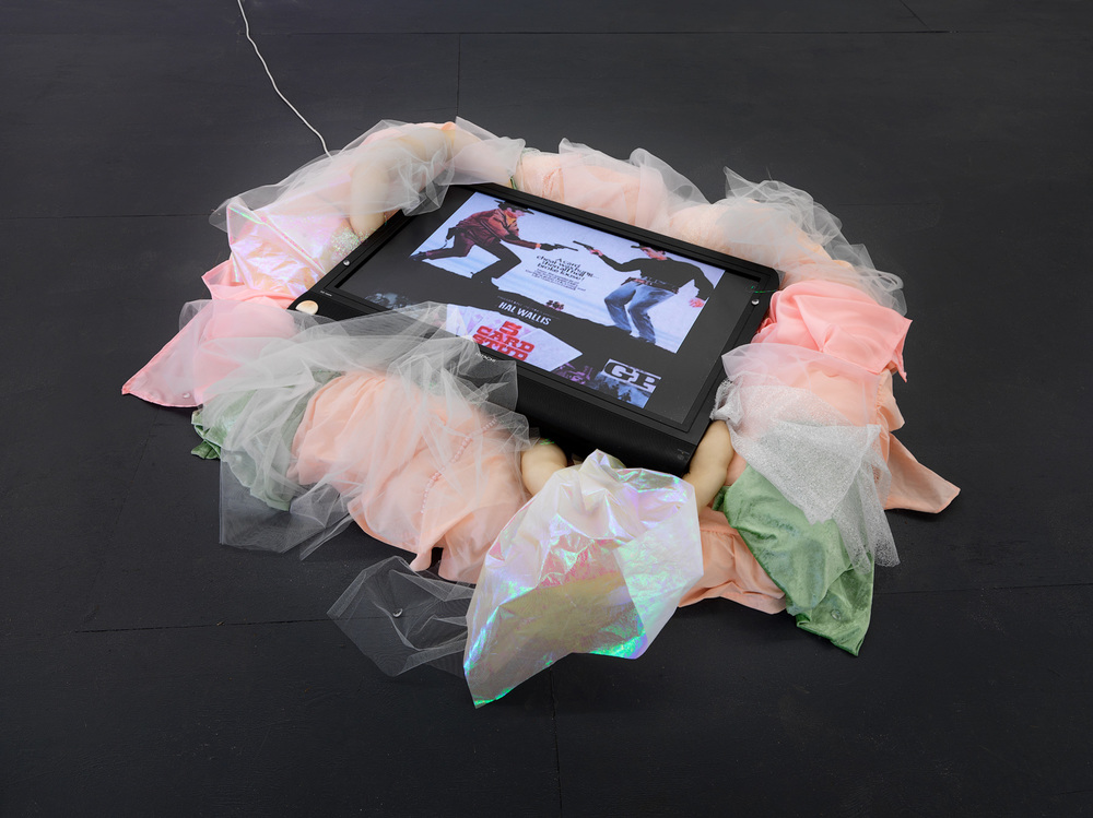 Ashleigh D'Antonio,  fivecardstud , 2016, single channel video, 1 min 1 sec, fabric, wadding, stockings, gems, dimensions variable. Photography by Grant Hancock. Courtesy the artist.