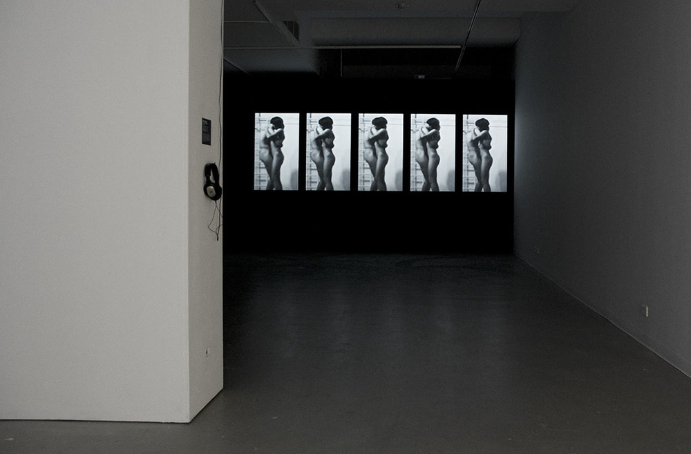 Peter Kennedy  Body Concert Part 2: Extended  1971–2015. single-channel digital video and sound, 6:28min. dimensions variable.  Installation view, Australian Experimental Art Foundation, 2016.  Photo: Alex Lofting. Image courtesy the artist and Milani Gallery, Brisbane.