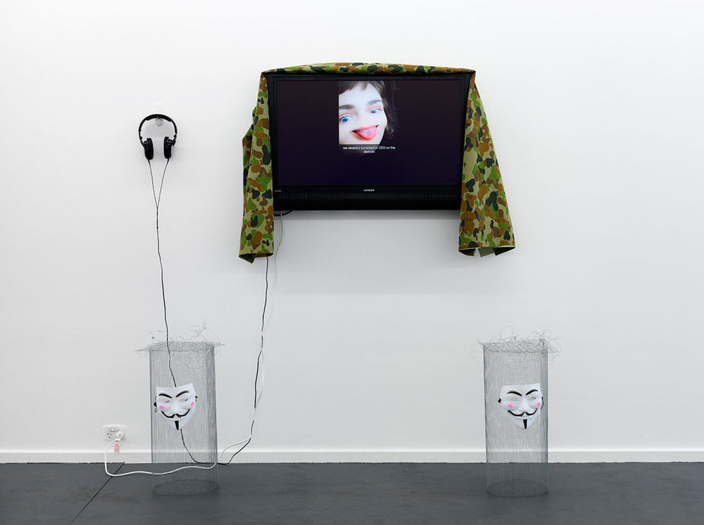 Mia van den Bos,  Capatalism scammed me first , 2016, wire mesh, wire, coated wire, barbed wire, Guy Fawkes masks & Expectus, 2016, single channel video, 3 mins 29 secs. Photography by Grant Hancock. Courtesy the artist.