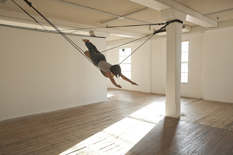 Mira Oosterweghel,  Unstable Moments  (performance documentation), 2015. Performers: Marianna Joslin, Mikey Bailey & Kieran Rowell. Performance, oak dowel, rope, ply. Installation view,  Unstable Moments , Metro Arts, Brisbane, 2015. Courtesy and copyright the artist. Photograph: Dane Beesley.