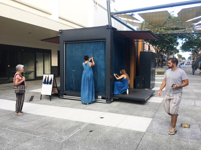 Emma Gardner, Rachael Wellisch, Rebekah Evans,  As   We Unfold , installation view, The Pod, Brunswick Mall, Brisbane. Photograph by Rachael Wellisch.