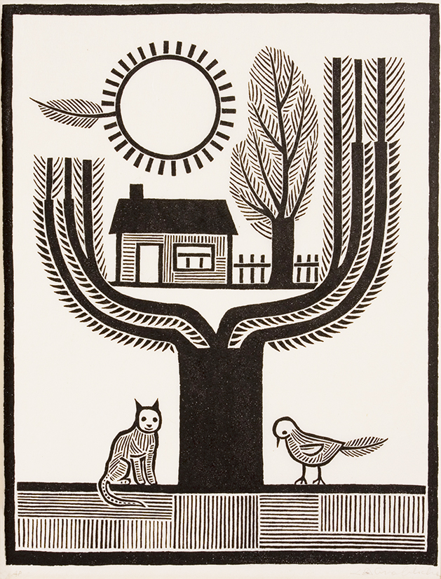 Lidia Groblicka (Australia, 1933 – 2012),  Children's tree  1972, woodcut, ink on paper, artist's proof, 63.5 x 47.3 cm (paper), Collection of Flinders University Art Museum, Adelaide