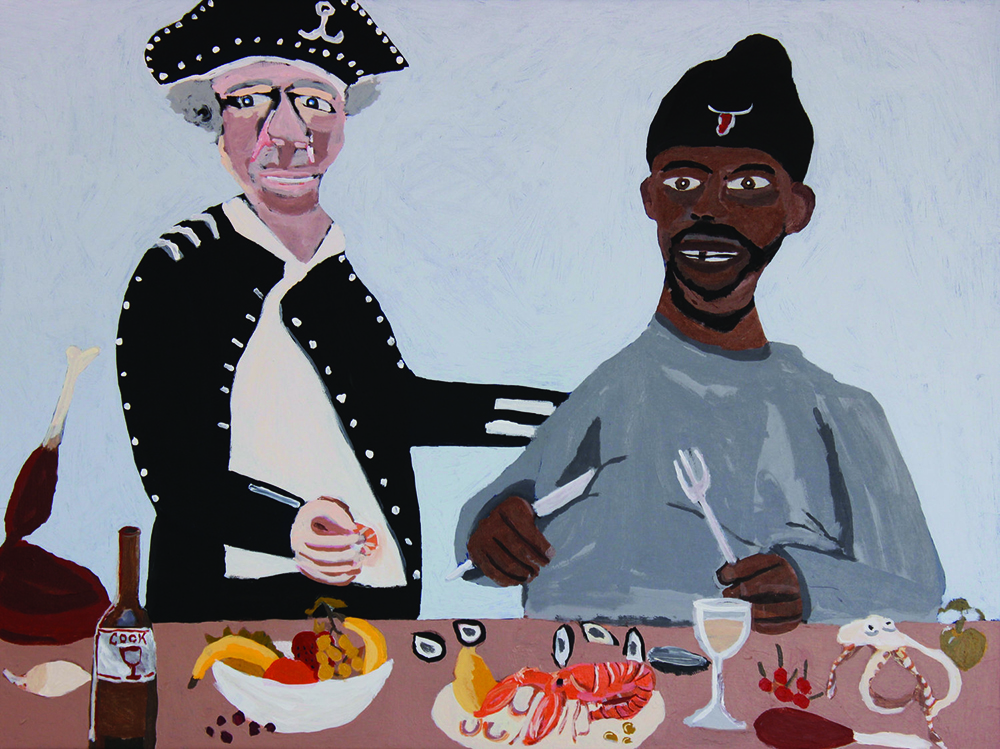 Vincent Namatjira,  Cook's Dinner Party , 2016, acrylic on canvas, 91 x 122 cm. Courtesy of the artist, THIS IS NO FANTASY + dianne tanzer gallery and Iwantja Arts