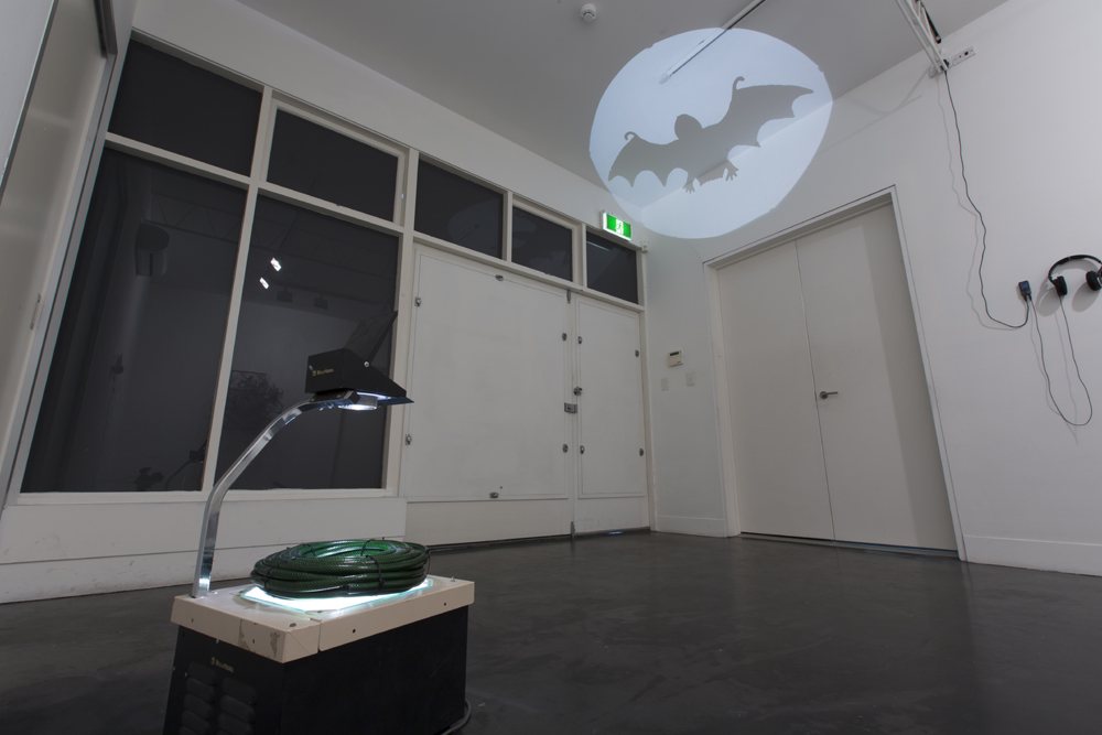 Roy Ananda,  Bat signal,  2016, overhead projector, garden hose, rubber bat. Photograph by Sam Roberts. Image courtesy the artist.