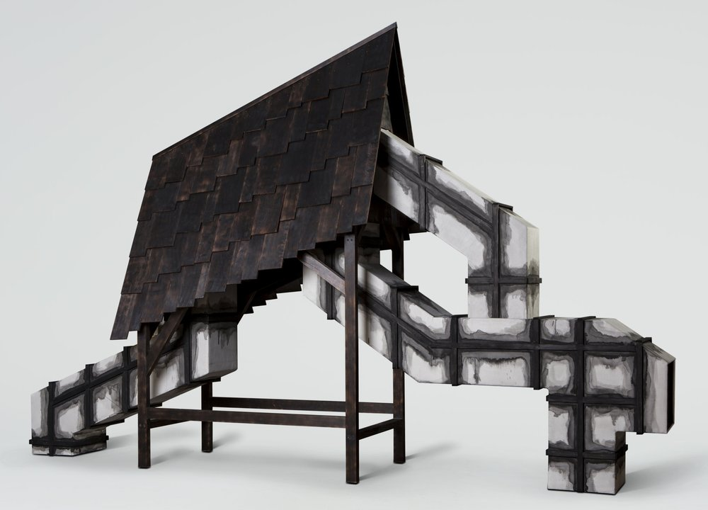 Julia Robinson, Structure for navigating an unknown afterlife, 2016, Adelaide, Blackened cedar shingles, linen, woollen felt, ink, timber (cedar, Tasmanian oak), MDF, fixings approx 300 x 460 x 100cm. Courtesy the artist and Greenaway Art Gallery, Adelaide. Photo by Sam Roberts.