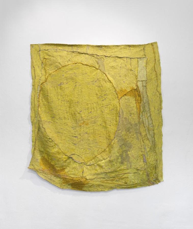 Teelah George, Australia, born 1984,  The Persistent Yellowing (time piece) , 2016, cotton thread, linen, bronze, 170 x 157 cm; Courtesy of the artist. Photo: Grant Hancock