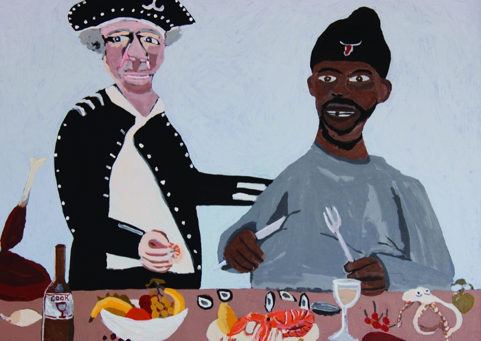 Vincent Namatjira, Cook's Dinner Party, 2016, acrylic on canvas, Courtesy the artist, THIS IS NO FANTASY + dianne tanzer gallery and Iwantja Arts