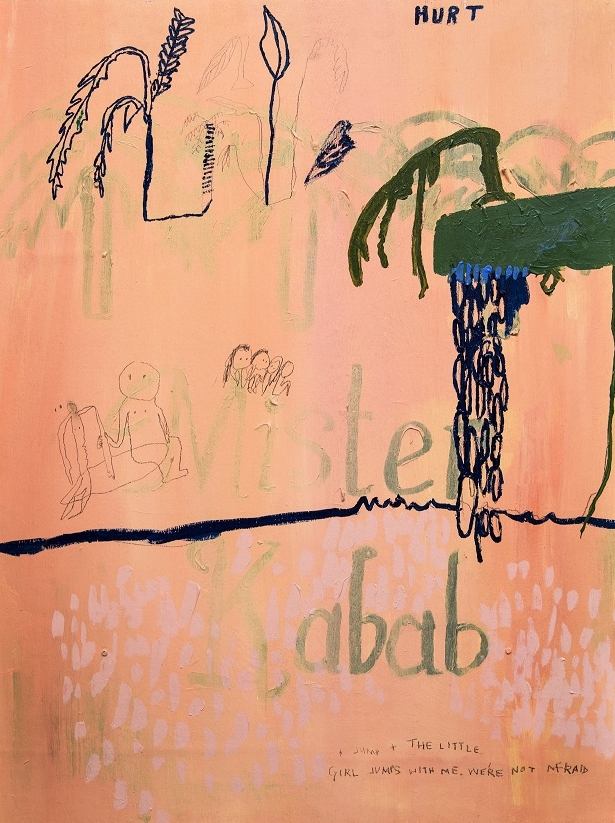 Aida Azin,  Mister Kabab , 2016, acrylic on board. Courtesy the artist.