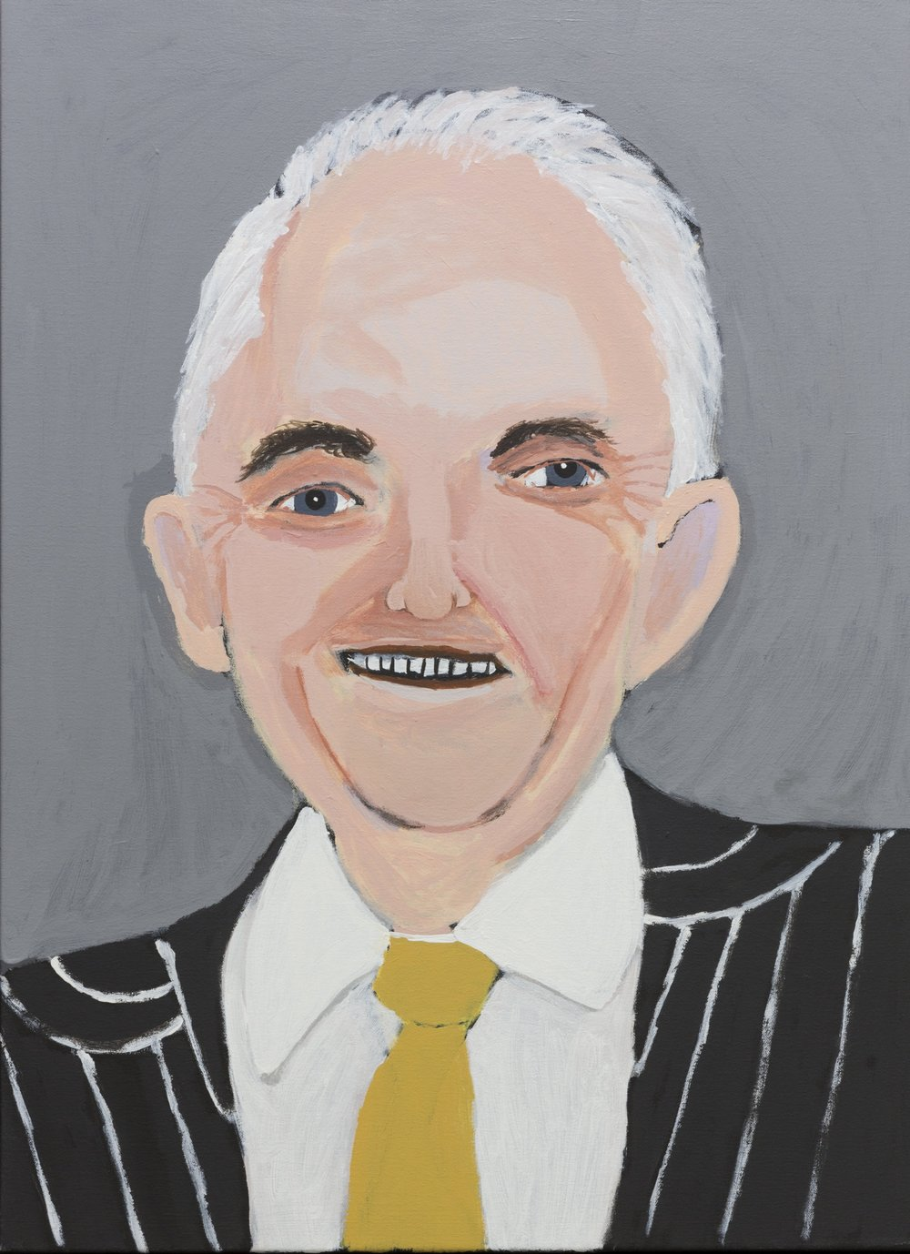 Vincent Namatijira,  Malcolm Turnbull,  2016, acrylic on canvas, 91 x 67 cm. Courtesy of the artist, THIS IS NO FANTASY + dianne tanzer gallery and Iwantja Arts.