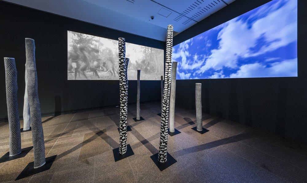Installation view 2017 TARNANTHI: Festival of Contemporary Aboriginal & Torres Strait Islander Art, featuring Wunyupini (Cloud), Ishmael Marika, Art Gallery of South Australia