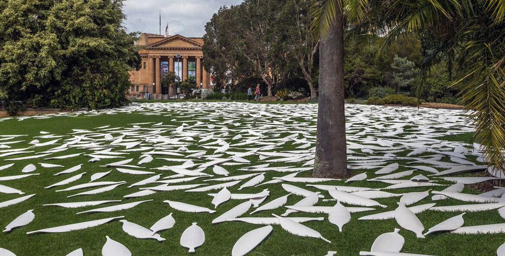 Jonathan Jones'  barrangal dyara (skin and bones)  marks the footprint of the 19th Century Garden Palace building at the Royal Botanic Garden, Sydney, for the 32nd Kaldor Public Art Project, 17 September – 3 October, 2016.