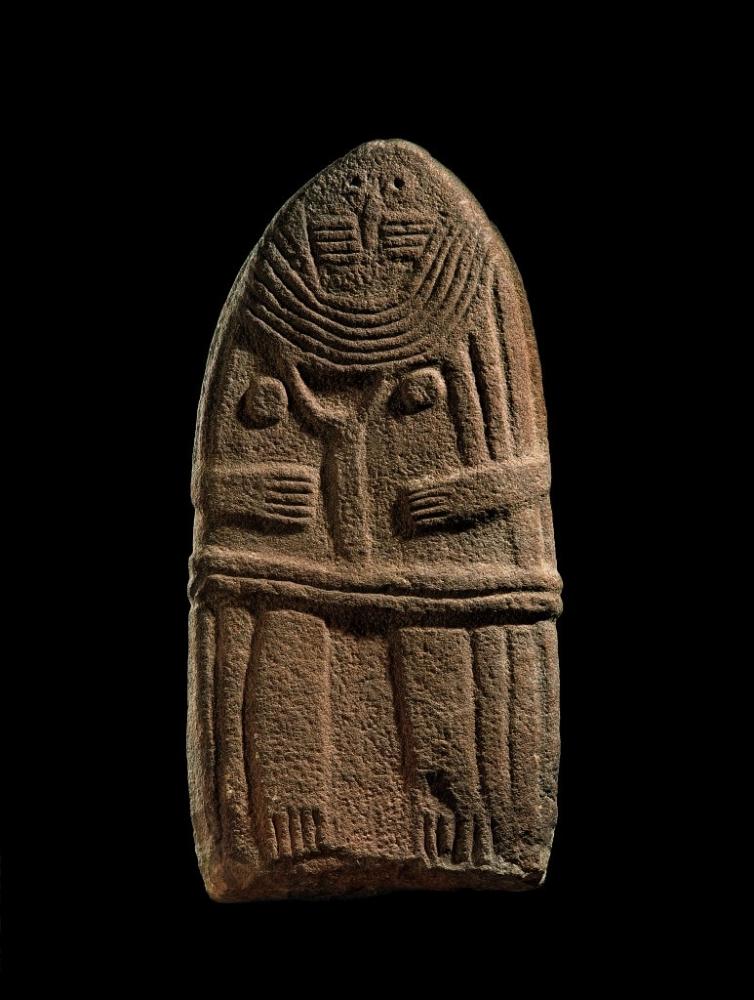 Lady of Saint-Sernin,Anthropomorphic Figure  Statue Menhir, Sandstone,4th—3th millennium B.C.Collection Musée Fenaille, Rodez, France Collection SLSAA © P Soiss