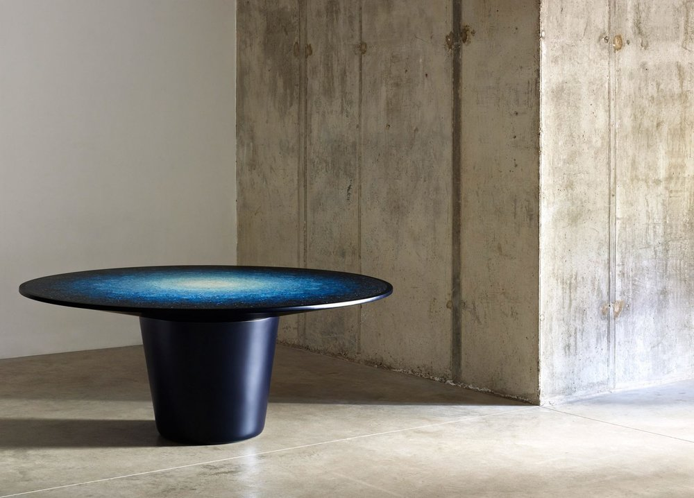 Brodie Neill,  Gyro, table,  2016, plastic, glass reinforced polyester resin, dyed paint, lacquer, 77.7 × 179.7 cm diameter, collection of the National Gallery of Victoria, Melbourne. Purchased, Victorian Foundation for Living Australian Artists and Mercedes-Benz Australia/Pacific, 2018.