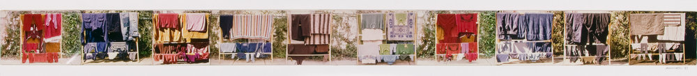 Ann Newmarch, Australia, born 1945,  Washing day , 1981, Adelaide, collage of type C photographs mounted on cardboard, 8.9 x 110.8 cm (image), South Australian Government Grant 2005, Art Gallery of South Australia, Adelaide, 20056Ph4.  Click to enlarge.
