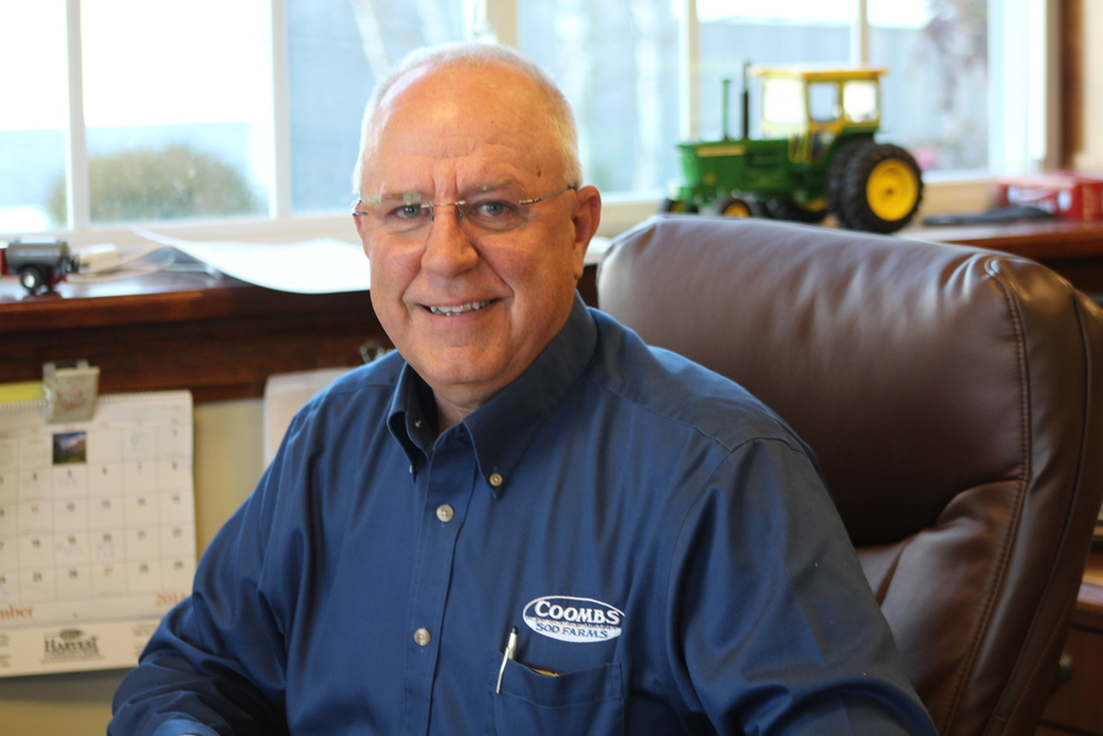 John Coombs Sr. - jhc@coombsfarms.com  As the 8th generation serving the family farm, john is proud to run the 1500 acre farm with his family by his side. He is a graduate of the Pennsylvania State University, class of 1975, with an associates of agriculture degree. upon graduation, he became a partner with his father, george, and his brother, Jim. in 1980, he wed donna cruzan and later welcomed 3 boys to their family: john jr., george & Kevin. john serves the community in many ways as the former mayor of upper pittsgrove township, current land use board chairman, harvest community bank board of directors, president of the pole tavern ruritan and preseident of the nj cultivated sod association.  He is also a member of NJ White potato council and Board member of turfgrass producers international.