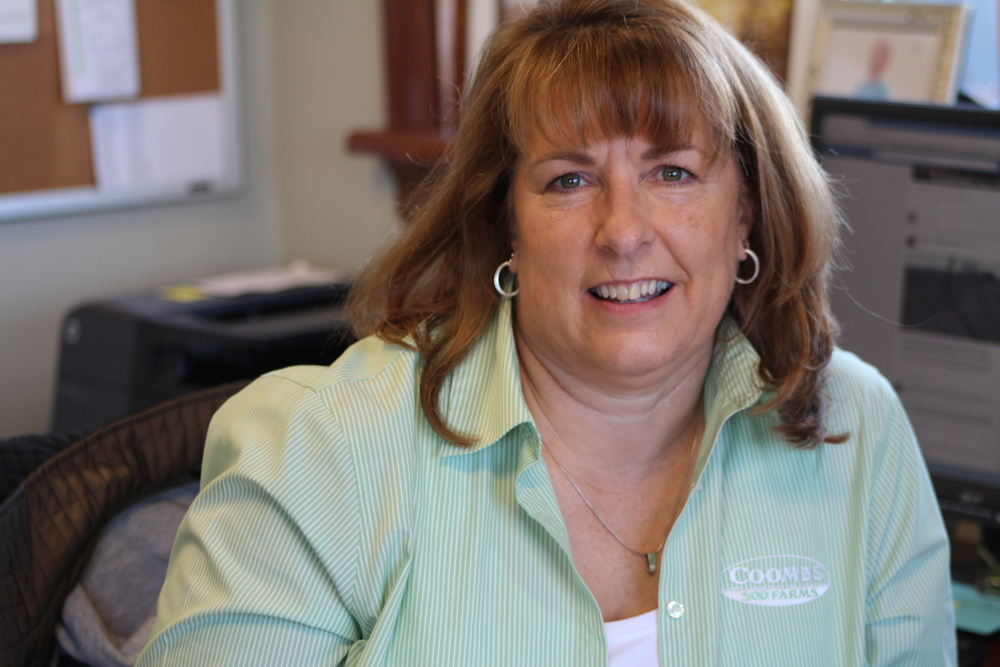 Donna Coombs - donna@coombsfarms.com  raised on nearby potato farm (cruzandale farms), she married john in 1980. while raising her 3 sons, she helped john on the farm in many different capacities. currently, donna serves as the office manager, keeping track of all the financials. when she isn't in the office, she can be found entertaining her 3 active grandsons (lee, sam & ryan). When her father retired from farming full time in 2012, cruzandale farms (700 acres of land and equipment) is now farmed by coombs sod farms with a rental agreement.