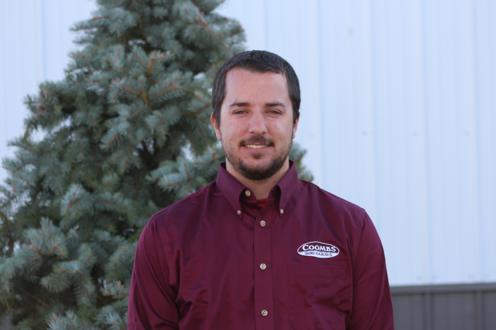 Kevin Coombs - kevin@coombsfarms.com  proud graduate of penn state's acclaimed turf grass science program (class of 2012), kevin is the 3rd partner of Coombs sod farms. kevin spends much of his time and energy producing the bent grass crop and his psu connections have been helpful in marketing the sod.  he is also in charge of the chemical applications for the 1500 acres, helping out wherever there is a need. Kevin and his wife, Cristina, live together on the farm with their 4 year old son, ryan, and baby boy #2 soon to arrive.