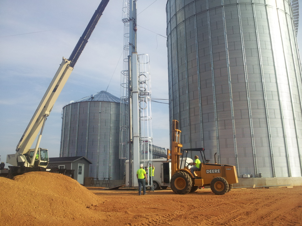 finishing the grain bin installation