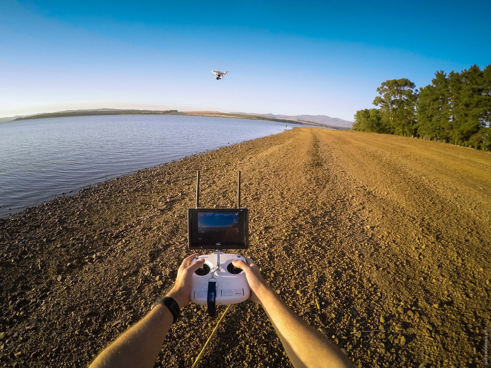 Flying my Phantom 2 at sunrise over Theewaterskloof Dam, in South Africa.