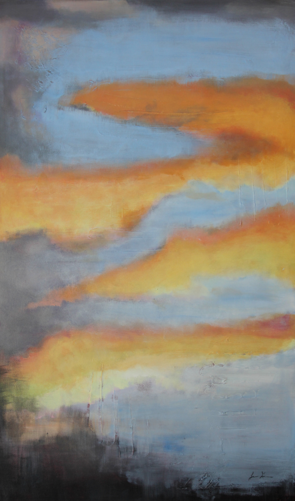 "Tangerine Sunset  36"" X 60"" Acrylic on Canvas"