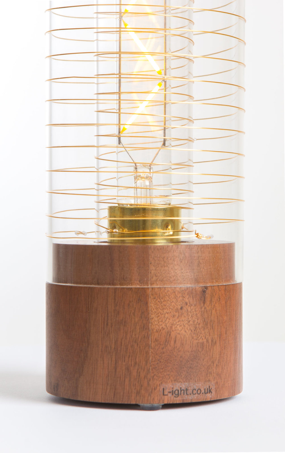 Luna Lamp Classic - walnut base with gilt wire www.l-ight.co.uk