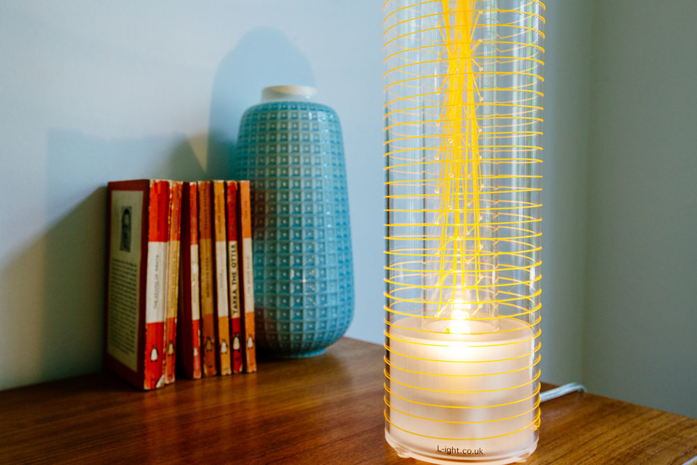 Luna Lamp - orange weave - l-ight.co.uk