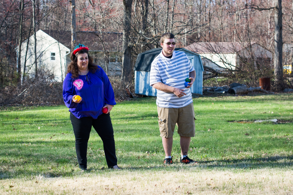 Mom and Brian playing bocce