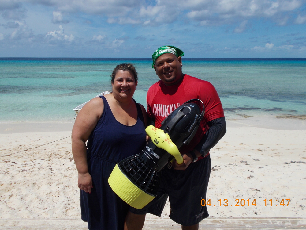 Mom and her scuba instructor on her carnival cruise