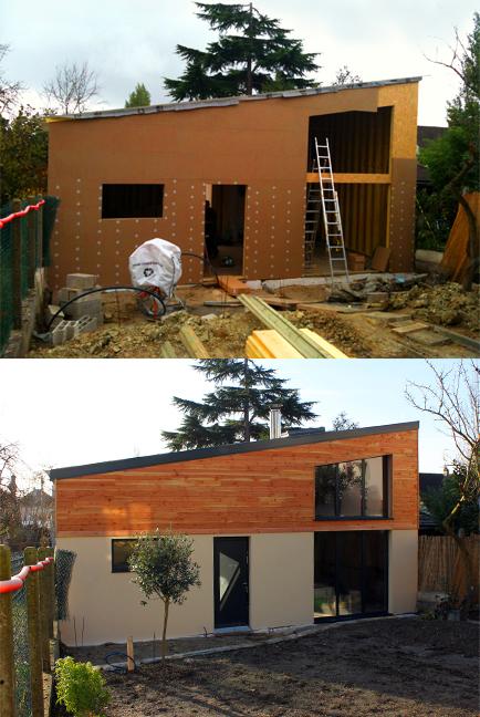 I.T.E. en panneaux de fibre de bois haute densité. Finition mixte bardage en douglas massif et enduit grain fin taloché.