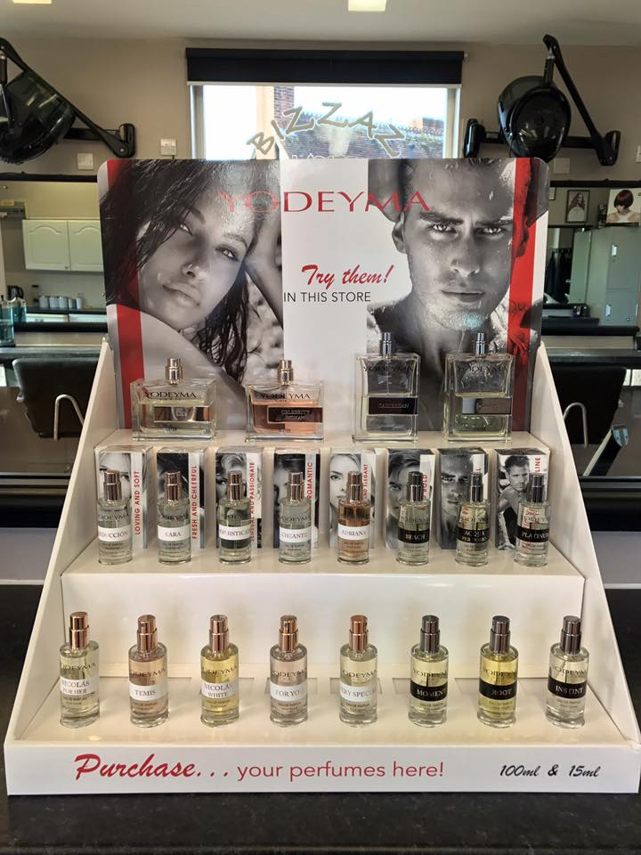YODEYMA PERFUME - New to BIZZAZ HAIR is the YODEYMA perfume range. Available in 15ml & 100ml bottle from £4.95 - £22.50.  Come in and give them a try they smell amazing!