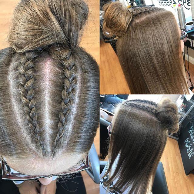 How cute is Katie's hair! 😍👌🏽 cut and style by Aleena 💇🏽♀️ #bizzaz #hair #bizzazhair #exeter #devon #plaits #bun #hairstyle #pm #paulmitchell #hairup #halfuphalfdown #tocute #instabizzazhair