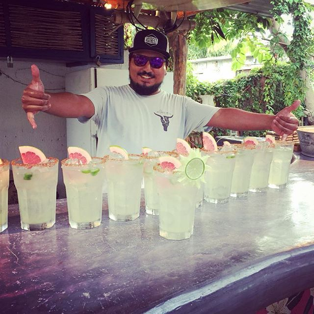 If you're happy and you know it, say MARGARITA!!!!! Happy birthday Axel. Thanks for being the best bartender EVER!!!! #happybirthday #bartenderlife #grapefruitmargaritas #mezcal #barlife #hotelbar #labohemiabaja #theroadlesstraveled #alwaysanadventure #comestaywithus #summertime #liveitup