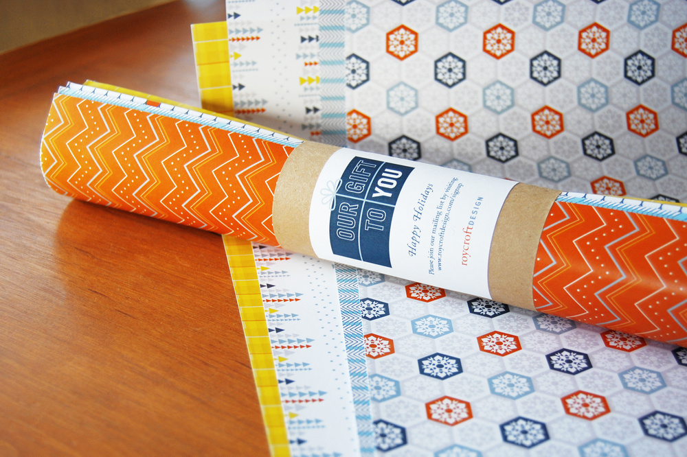 Our Gift to You Set of patterned wrapping paper, designed as a holiday gift from Roycroft Design sent to clients and vendors.