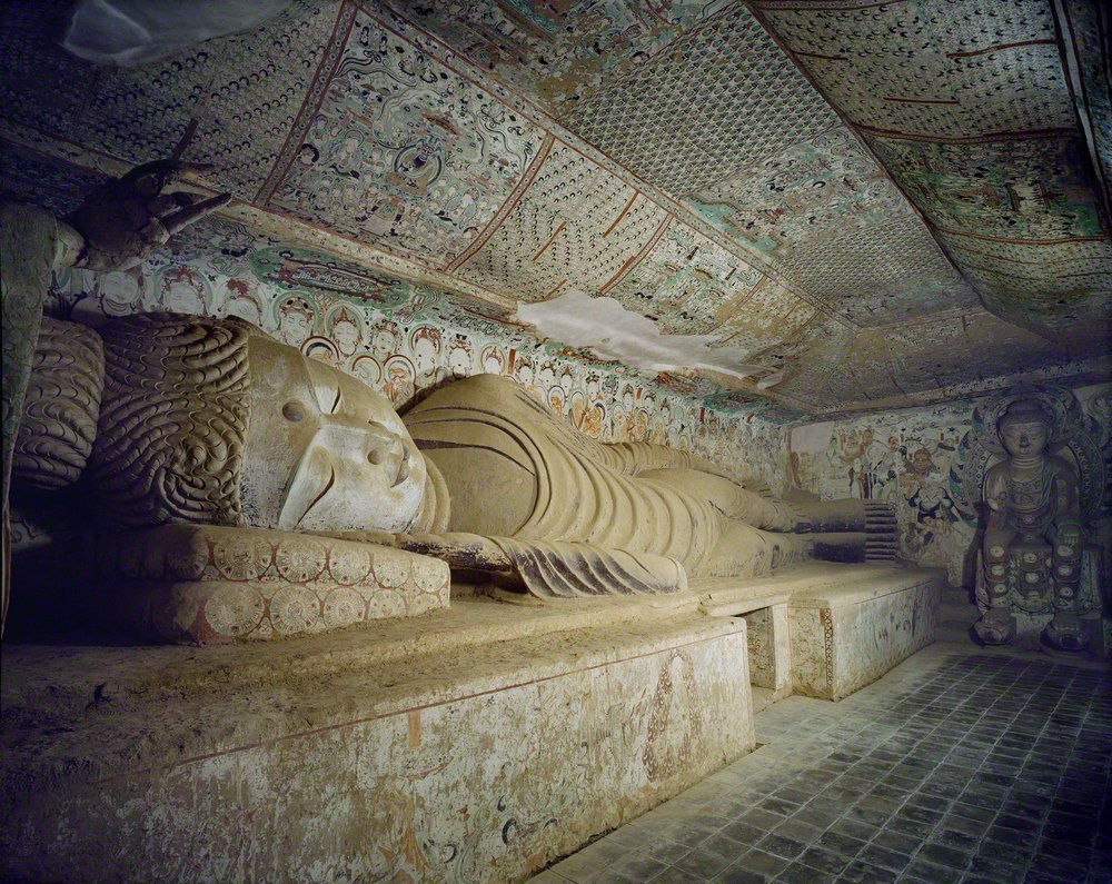 The reclining Buddha in Cave 158, 781-848 CE, Dunhuang. Photo by Wu Jian. Image courtesy of the Dunhuang Academy.