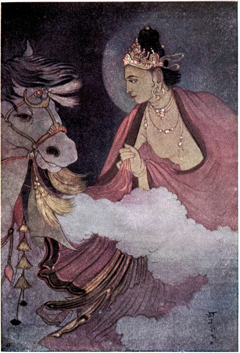 Departure of Prince Siddhartha, illustration from 'Myths of the Hindus and Buddhists' by Sister Nivedita and Ananda Coomaraswamy, 1st edition, 1913. Abanindranath Tagore. 1913. Calcutta.