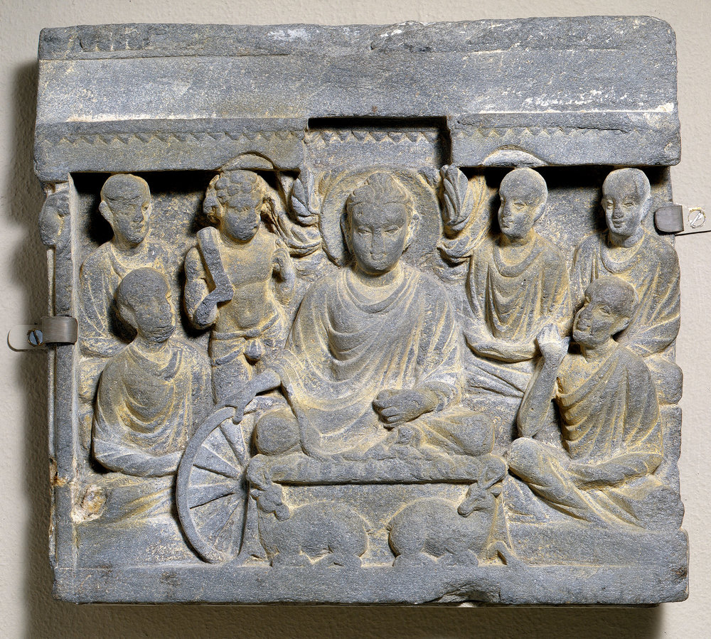 Buddha's First Sermon at Sarnath. 2nd century CE. Gandhara. The Met.