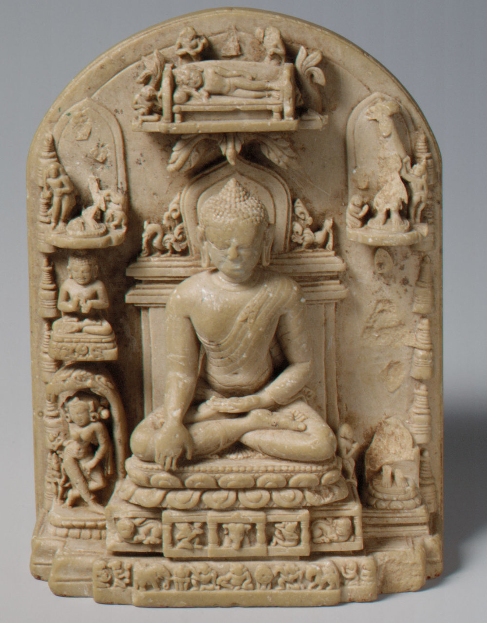 Plaque with Scenes from the Life of the Buddha. 12th century. Pala. Bihar, India. The Met.