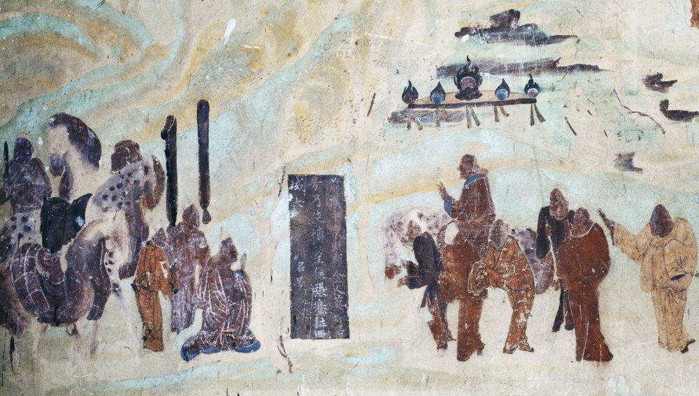 Detail of Emperor Wu on a horse sending off Zhang Qian who is kneeling, north wall fresco in Mogao Cave 323. Early Tang. Image Courtesy of the Dunhuang Academy.