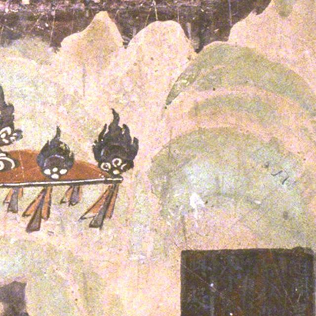 """I rain down the Dharma rain, filling the whole world"" . . . ~ Translated by Burton Watson Parable of the Herbal Medicine, chapter 5 from the Lotus Sutra . . Master Tan Yan Praying for Rain on the South Wall of Mogao Cave 323. Early Tang. Image Courtesy of the Dunhuang Academy. . . . #buddhism #dunhuang #mogaocaves #art #painting #caveart #caves #fresco #dunhuangacademy #unesco #conservation #worldheritage #tanyan #emperorwen #suidynasty #tangdynasty #historical #pictures #costumes #dharma #chinese #monk #prayer #patrons #donors #classical #medieval #silkroad #rain #ritual"