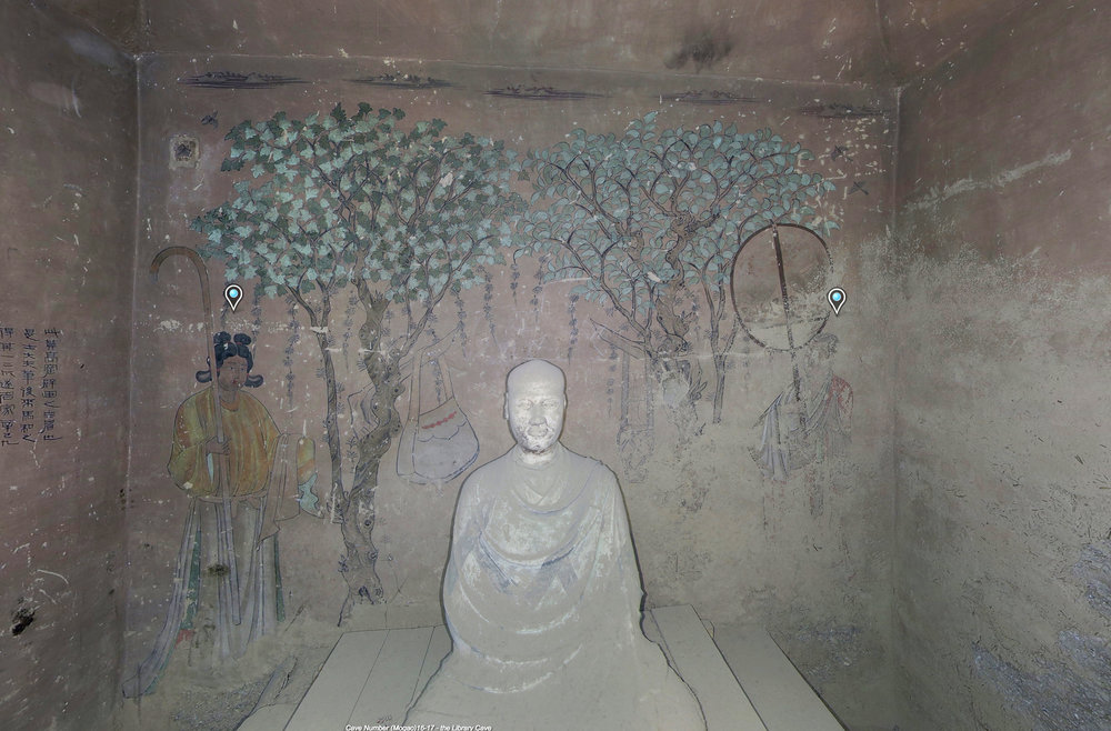 Image of the mural behind the statue of Hong Bian in Mogao Cave 17. Late Tang, 848-907 CE. Dunhuang. Image courtesy of the Dunhuang Academy via E-Dunhuang.